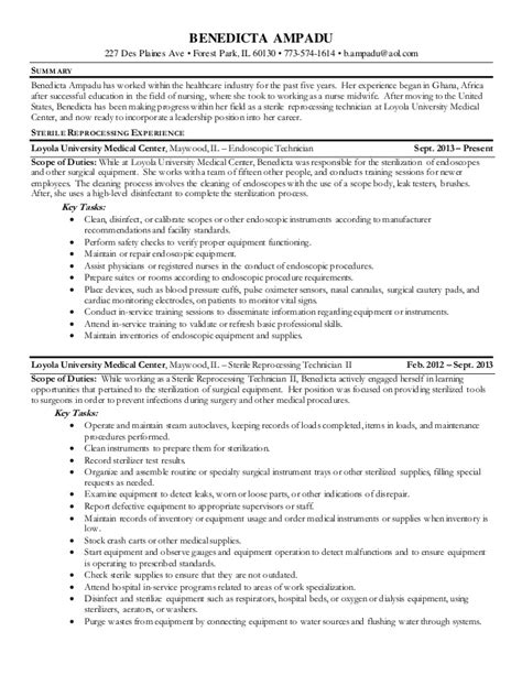 Endoscopy Resume Exles by Health Care Industry Resume