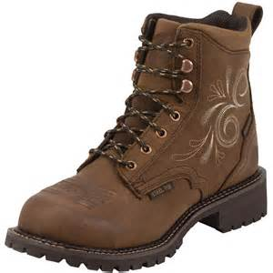 womens work boots shop 39 s justin aged bark steel toe work boots