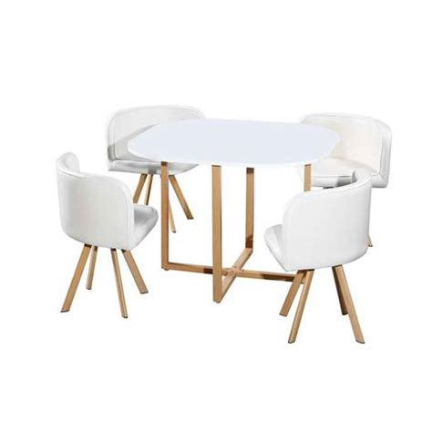 table et chaise encastrable table avec 4 chaises encastrables blanc 100x100x75 cm