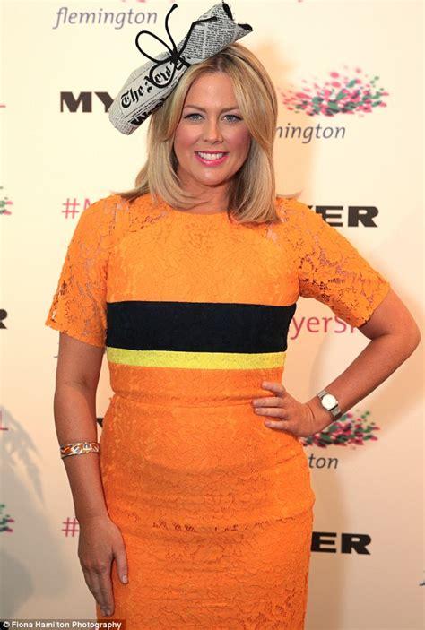 Orange And White Carpet by Samantha Armytage Wears Orange Lace Dress At Spring Racing