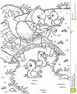 Duck Ducklings Stream Pages Water River Coloring Template Illustration Sketch sketch template