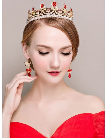 completo per completo per sposa di tiara e orecchini rosso e oro
