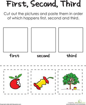 second third an apple a day worksheet
