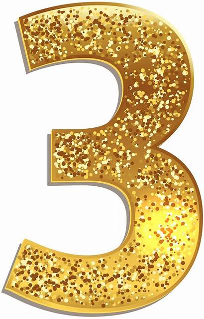 Numbers Number Gold Clipart Clip Shining Three