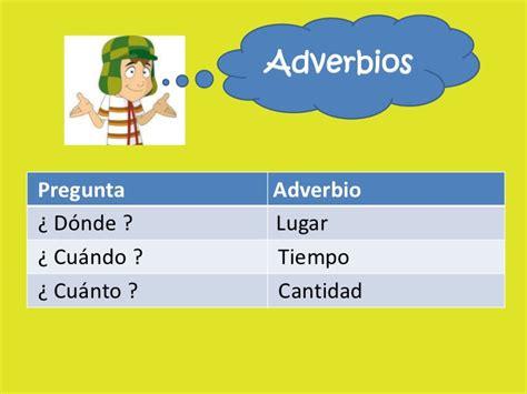 ejemplo de adverbio los adverbios