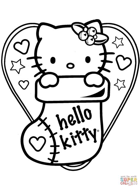 Hello Kitty In Christmas Sock Coloring Page Free