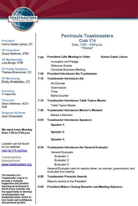 peninsula toastmasters meeting agenda peninsula