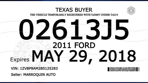 txdmv rolls   buyer tags  additional security