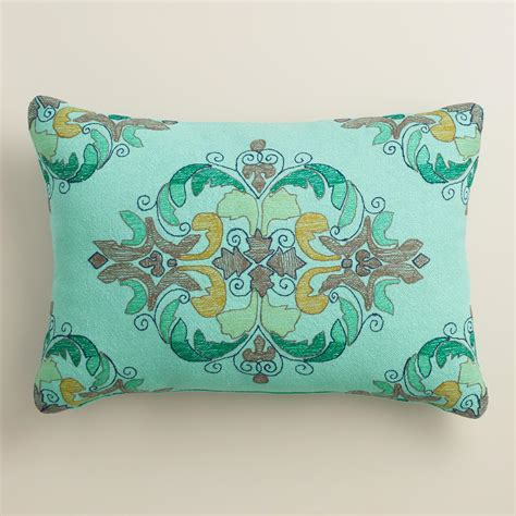 world market pillows blue embroidered outdoor lumbar pillow world market