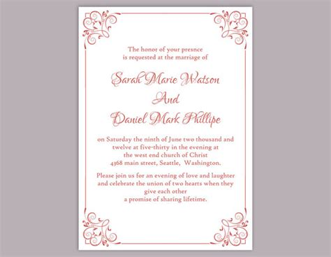 wedding invite template download diy wedding invitation template editable text word file