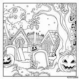 Coloring Halloween Cemetery sketch template