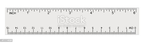 white transparent ruler isolated  centimetre inches