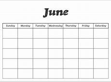 June Blank Calendar Template Blank Print Blank Calendars