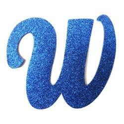 letra cursiva em gliter w azul a b c d 193