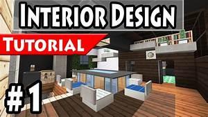 minecraft modern house interior design tutorial part 1 With minecraft modern house interior design