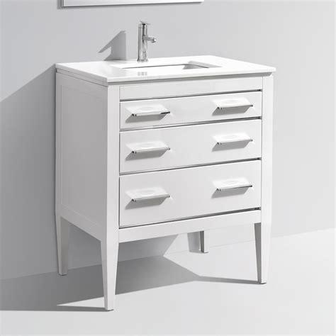 30 inch contemporary bathroom vanity white glossy finish