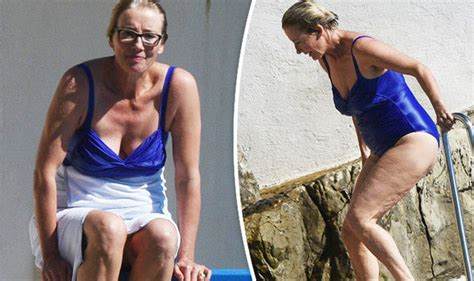 emma thompson swimsuit emma thompson 58 shows off incredible figure in plunging