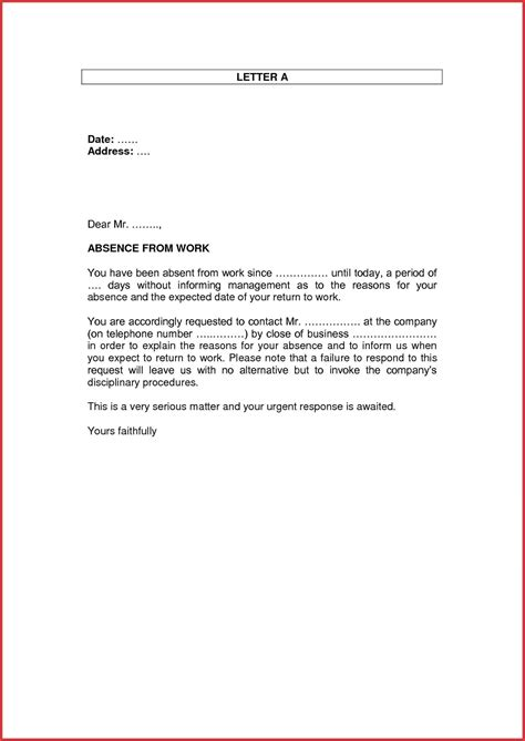 personal leave of absence letter leave letter format personal work new sle leave absence 8352