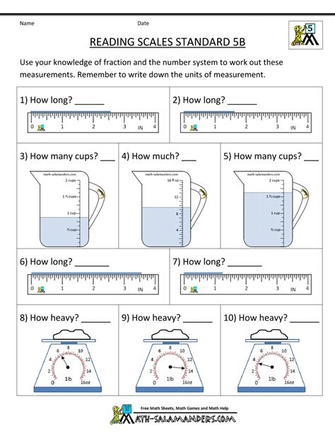 worksheets for 5 grade 5th grade measurement worksheets