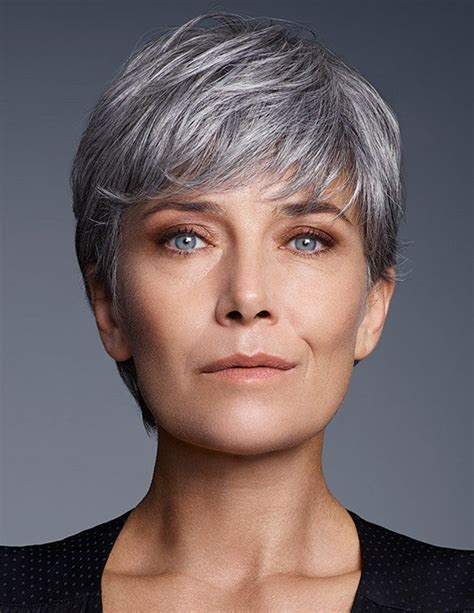 Cut your hair, exceed old age stereotypes, follow footsteps below. Cute Short Pixie Cut Older Women Grey Hair Wig With Bangs ...