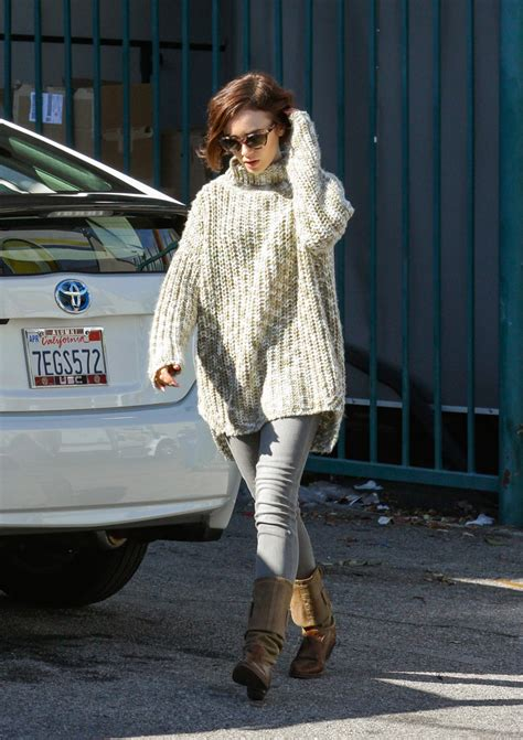 lily collins cowl neck top lily collins  stylebistro
