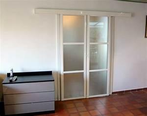 Porte Verre Suspendu : porte coulissante vitr e suspendue ferrure porte ~ Teatrodelosmanantiales.com Idées de Décoration
