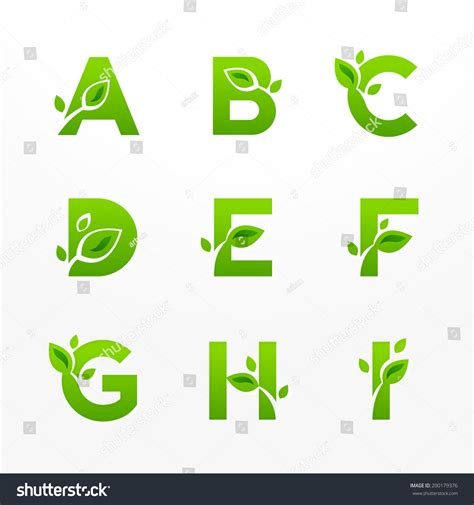 green eco letters logo leaves stock vector 428112841 vector set green eco letters logo stock vector 200179376
