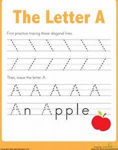 practice tracing the letter a homework worksheets and With learning letters for 3 year olds