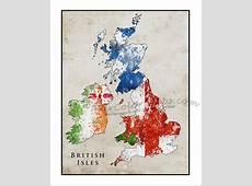 BRITISH ISLES Map, Watercolor Flag Map, England Map