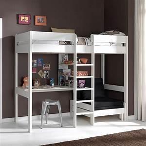 Lit Bureau Fille : lit mezzanine avec fauteuil et bureau aubin zd1 lit sur ~ Teatrodelosmanantiales.com Idées de Décoration