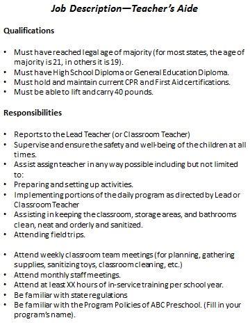 preschool job description resource templates