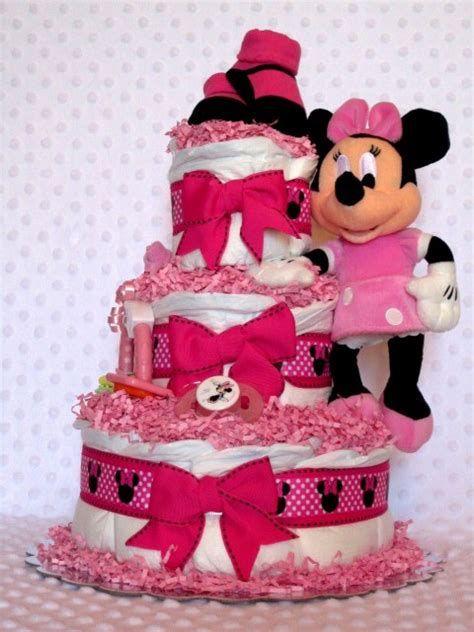 hot pink minnie mouse baby diaper cake