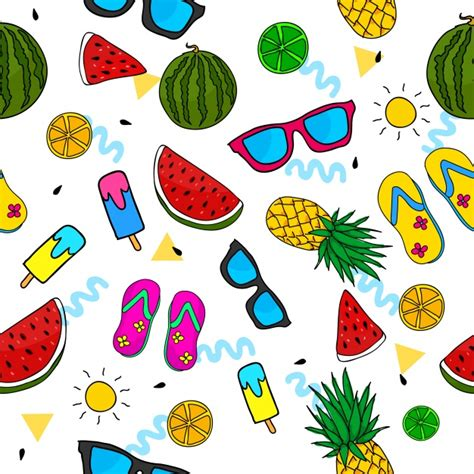 Summer Pattern Background Vector  Free Download