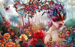 Fantasy, Art, Women, Girl, Butterfly, Lips, Face, Psychedelic, Nature, Wallpapers, Hd, Desktop