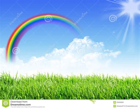 sky grass rainbow royalty  stock images image