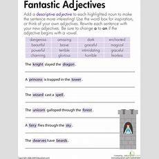 Descriptive Adjectives Fantastic!  Worksheet Educationcom