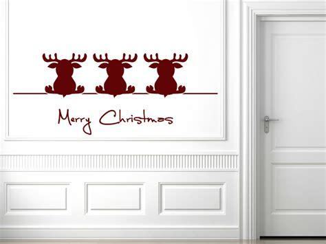 winter wandtattoo drei weihnachtselche von wandtattoonet