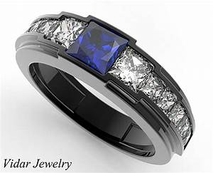 Black Gold Blue Sapphire Wedding Ring For A Men Vidar