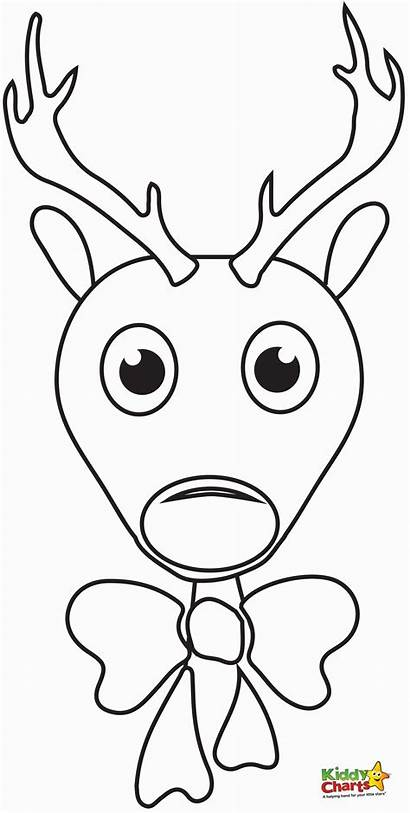 Reindeer Coloring Rudolph Pages Face Christmas Nosed