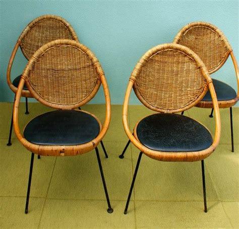vintage mid century modern salterini rattan egg chairs set