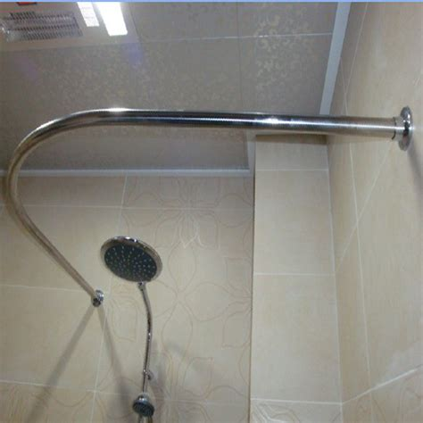 Spring Shower Rod by Thickening Stainless Steel Curved Shower Curtain Rod