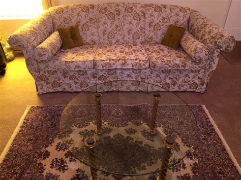 vintage  tapestry style sofa couch glass coffee table