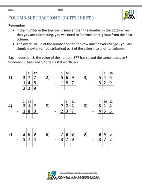 three digit subtraction math worksheet 1000 images about maths on math