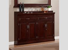 Furniture Brown Wooden Tall Bar Cabinet With Wine Storage