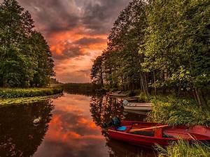 Beautiful, Sunset, Landscape, From, Australia, River, Boats