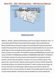 Bmw E31 850 840 Injection 1994 Service Manual By