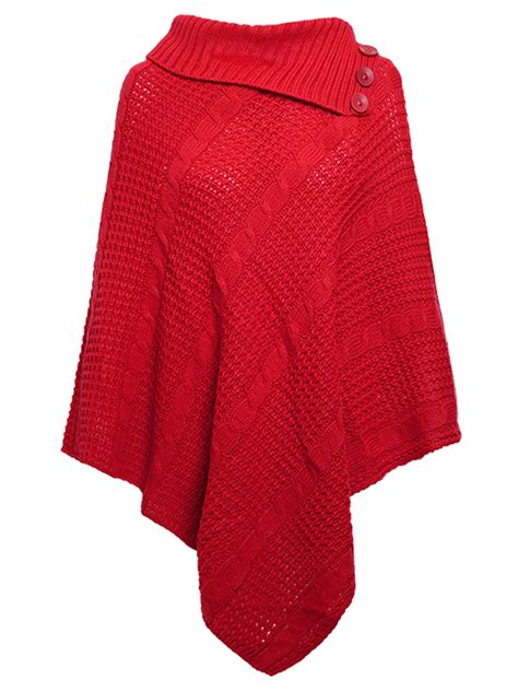 jumper 5in1 womens cable knitted poncho winter 3 button wrap