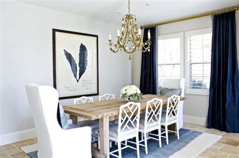 Navy Curtains, Benjamin Moore Balboa Mist, Gold Chandelier, Wooden Table, White Bamboo Chairs Alternative Curtain Rods Drop Cloth Curtains Tutorial Cheap Extra Long Correct Length Kitchen Bay Window Ideas Wooden Pole Brackets 35mm Pewter Shower Pinch Pleat