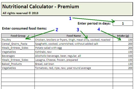 food calorie spreadsheet daily calories food nutrition excel spreadsheet