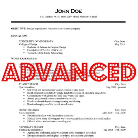 advanced resume iv careers